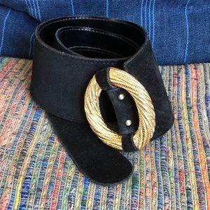 Vintage Ellen Tracy- Black Suede & Gold Belt